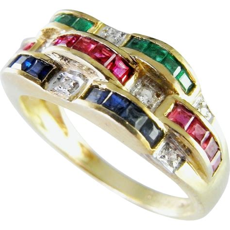 bellarri ruby emerald sapphire 14k ring