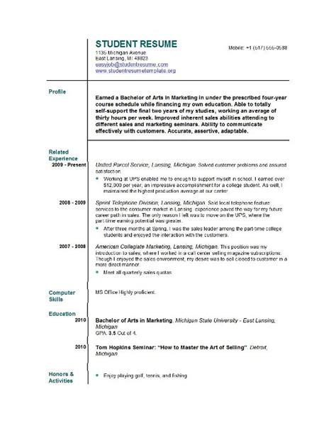 Sample Resume For Undergraduate Students