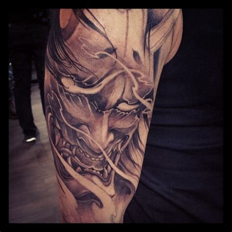 half sleeve hannya mask tattoo chronic ink