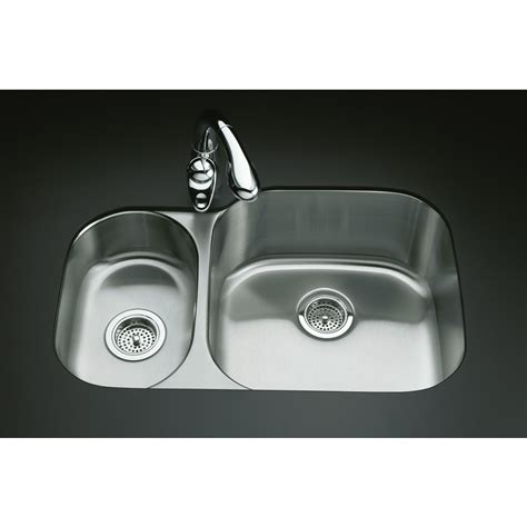 undermount kitchen sinks stainless steel shop kohler undertone stainless steel double basin undermount kitchen sink at lowes com