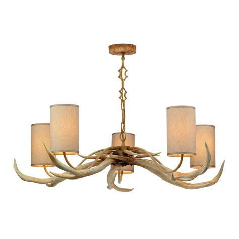 Ant0549 Antler 5 Light Ceiling Pendant Complete With Antler Pendant Light