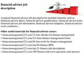 Financial Advisors Description financial advisor description