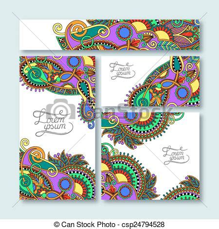 free printable decorative note cards vector illustration of collection of decorative floral