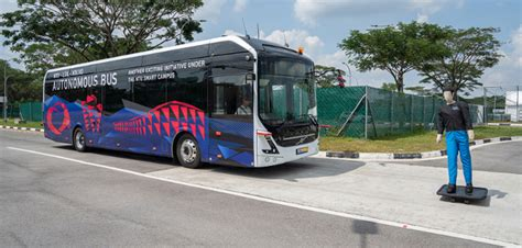 ntu singapore  volvo launch worlds  full size autonomous electric bus traffic