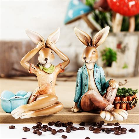 handmade easter bunny candlestick decors resin rabbit