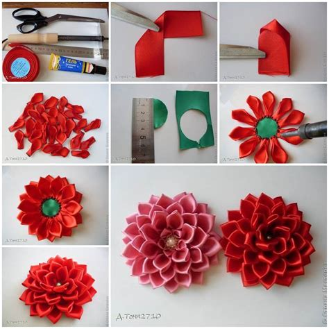 diy decorations ribbon diy satin ribbon dahlia petals