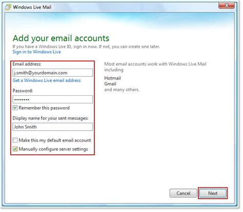 email yahoo server set up business email in windows live mail