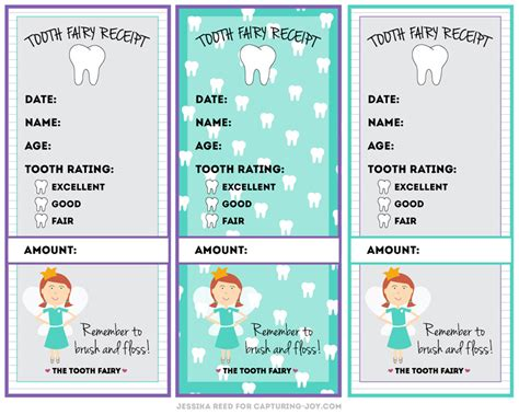 tooth receipt template editable tooth receipt free printable capturing with