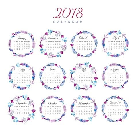 Descargar Calendario 2018 Calendar 2018 Floral Ring Design Vector Free