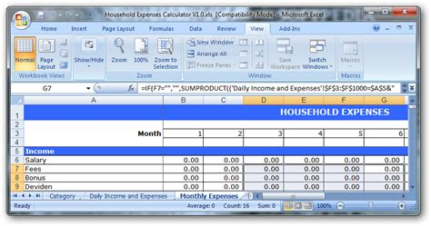 Expense Calculator Spreadsheet by Household Expenses Calculator
