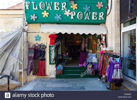 10436 Dress Agora Limited quot flower power quot shop at xania market crete greece hippy fashion stock photo royalty free