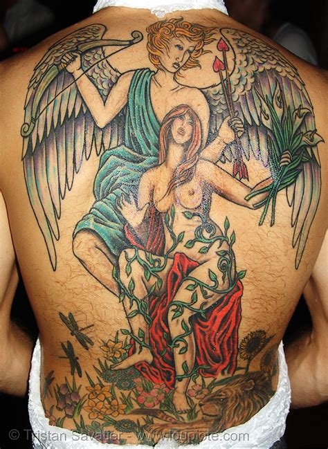 angel tattoo backpiece