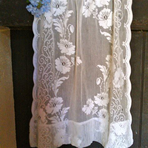 Antique Lace Curtains Vintage Small Crochet Lace Curtain By Biarritzvintage On Etsy