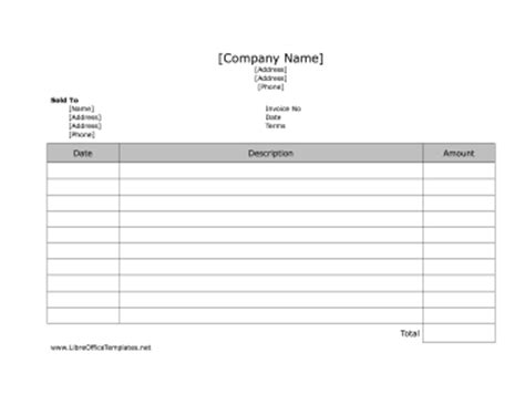 invoice template libreoffice lined invoice