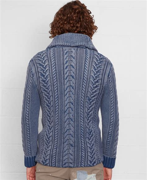 Pasmina Denim C denim supply ralph cable knit shawl cardigan in blue for lyst