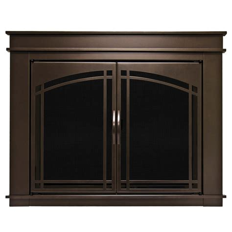 glass cabinet doors lowes shop pleasant hearth fenwick oil rubbed bronze small