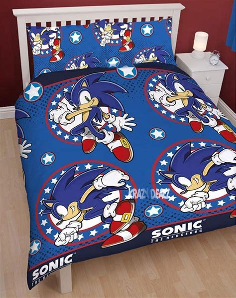 Sega Sonic The Hedgehog Sprint Double Rotary Duvet Cover Sonic The Hedgehog Bed Set