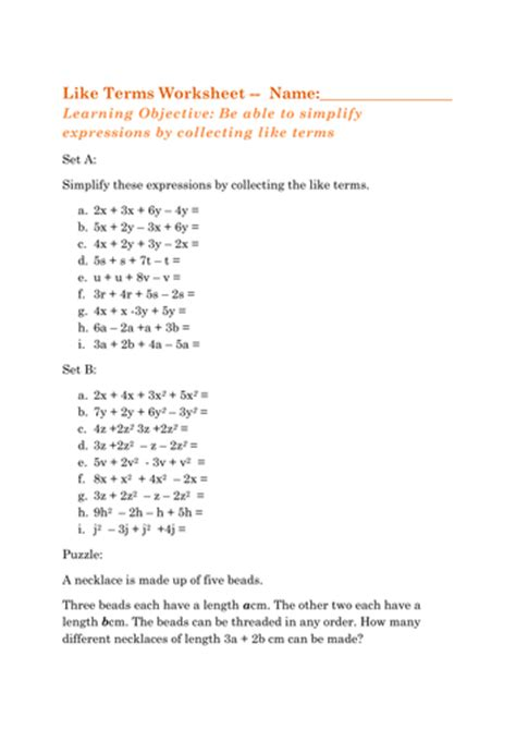 Like Terms Worksheet by Collecting Like Terms Ks3 Maths Expressions By Mita1000