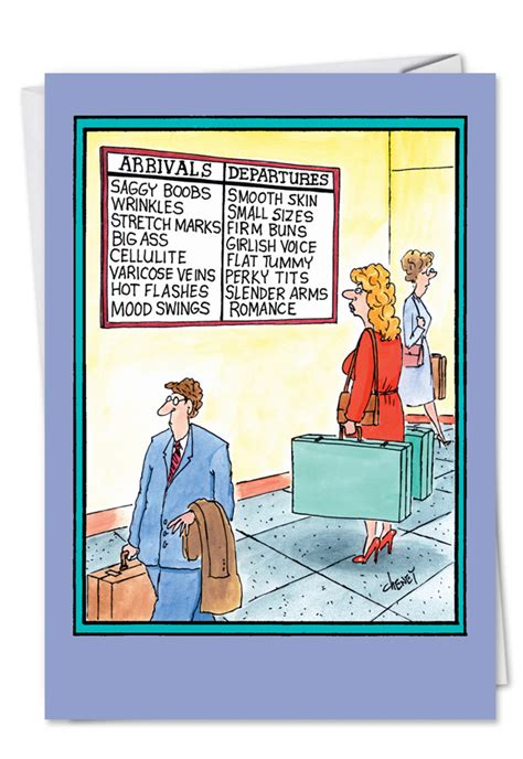 arrivals departures funny birthday card