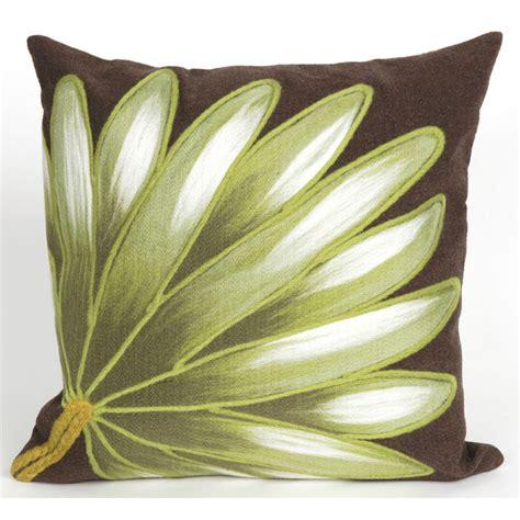 palm fan chocolate indoor outdoor pillow decor shop