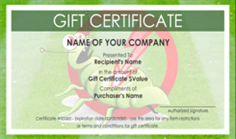 template for gift certificate for services pest service gift certificate templates easy to