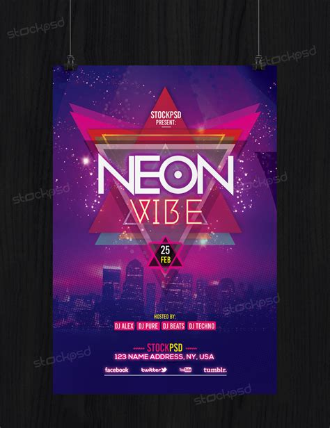 Neon Vibe Download Free Psd Flyer Template Free Psd Flyer Templates Brochures Mockup More Neon Flyer Template Free