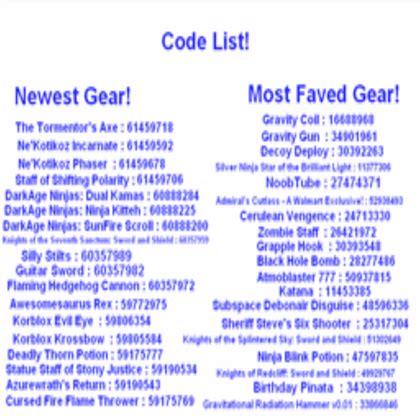 code list  gear roblox coding roblox codes roblox