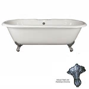 shop barclay 67 75 in white cast iron clawfoot bathtub
