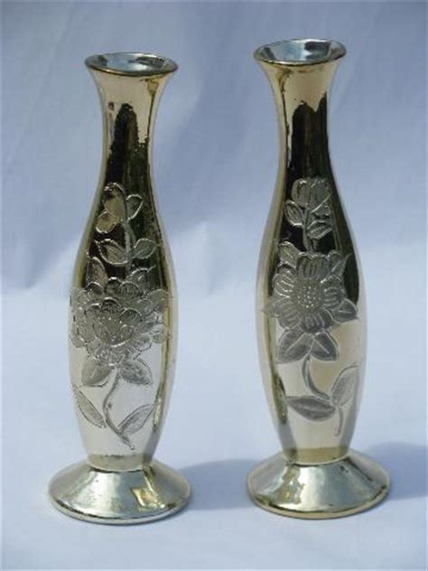 Faux Mercury Glass Vases by Faux Mercury Glass Pair Gold Silvered Ceramic Vases Vintage Japan