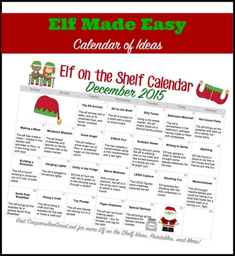 printable elf on the shelf calendar 2015 printable elf on the shelf calendar of ideas elfontheshelf