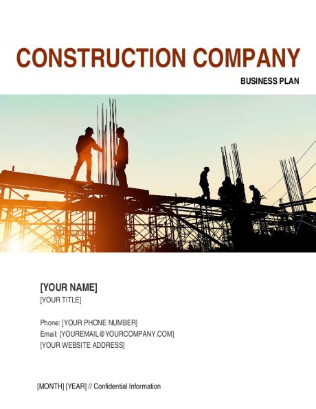 Construction Company Business Plan 2 Template Sle Form Biztree Com Business Plan Construction Company Template