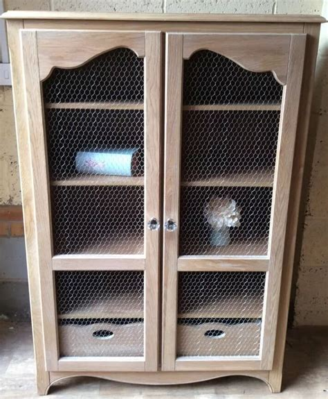 Limed Oak Kitchen Cabinet Doors Large Limed Oak Shabby Chic Cabinet With Chicken Wire Doors Ideas For The House Pinterest