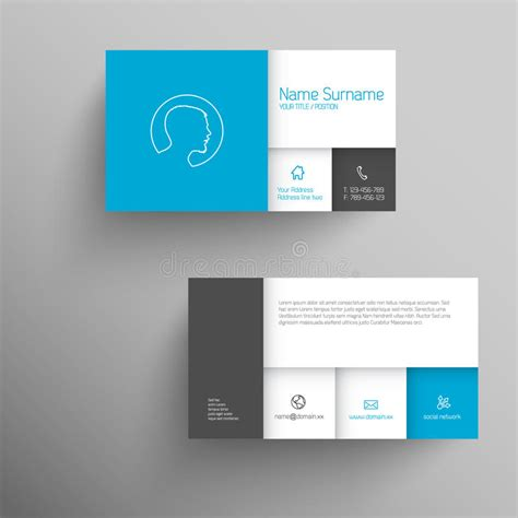 mobile content card template modern blue business card template stock illustration