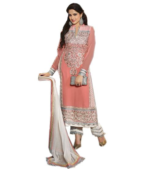 viva fab pink faux georgette unstitched dress material