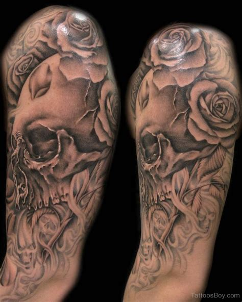 black rose half sleeve tattoos skull tattoos designs pictures page 23
