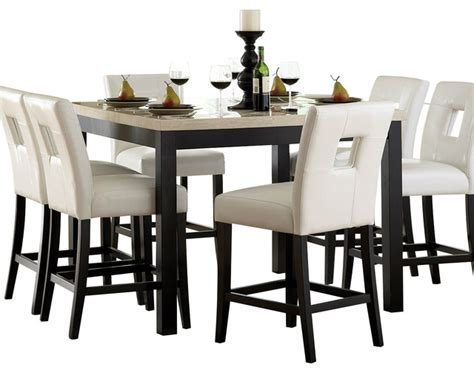 Pub Dining Room Sets Homelegance Archstone 7 Counter Height Dining Room Set With White Chairs Traditional