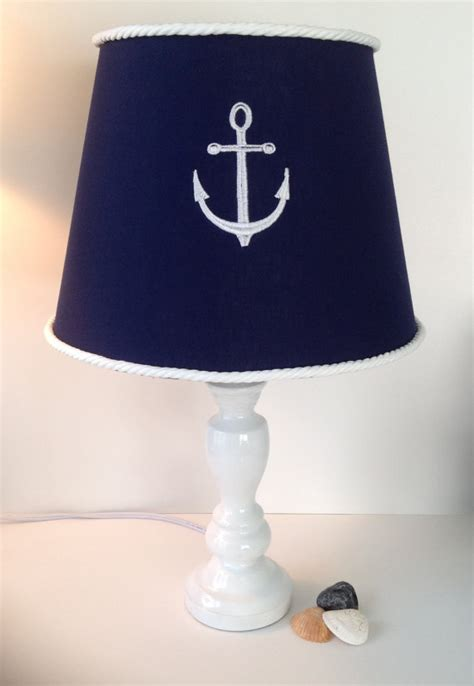 nautical anchor lamp shade navy blue and white by