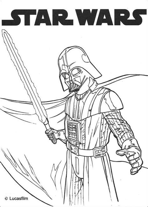 Darth Vader And Laser Sword Coloring Pages Hellokids Com Wars Printable Coloring Pages