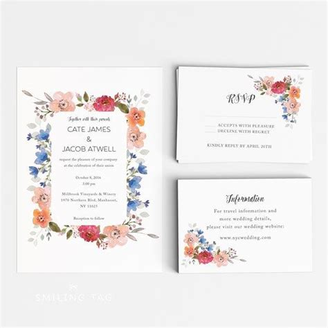 ready to print wedding invitations printable wedding invitation set garden floral