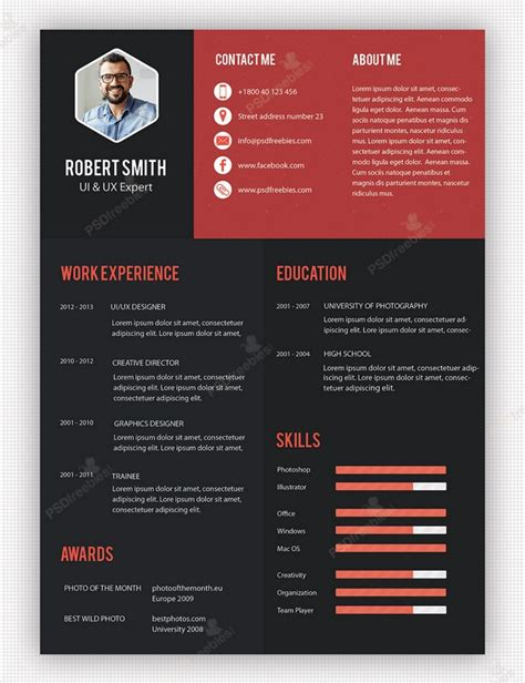 creative resume template 10 creative resume free psd templates phirebase