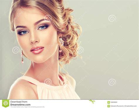 beautiful model with elegant hairstyle stock photo beautiful model with elegant hairstyle stock image