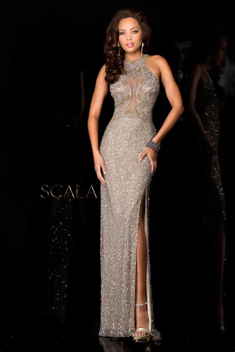 scala beaded gown scala 48625 high neck beaded evening gown novelty