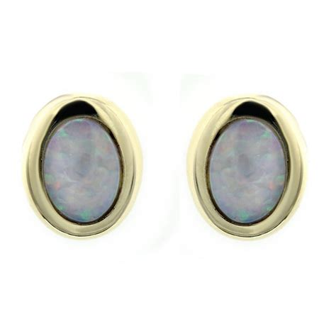 vintage deco oval gemstone opal stud earrings 925 silver 14ct yellow gold 0 62ct opal oval stud earrings