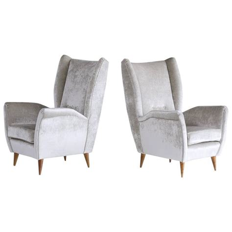 High Armchairs by Gio Ponti Pair Of High Back Armchairs In Silver Gray