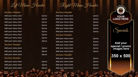 design a coffee shop menu layout from scratch with photoshop and indesign coffee shop menu board onelan digital signage layout
