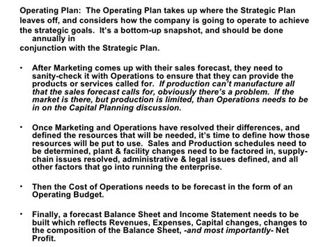 sle business plan operations section strategic operational business planning an overview