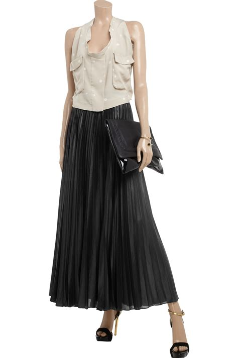 zumeet s maxi skirt pleated chiffon skirt black zumeet bcbgmaxazria pleated chiffon maxi skirt in black lyst