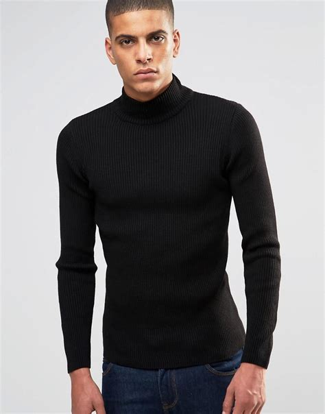 Neck Turle asos fit ribbed turtle neck in black in black for