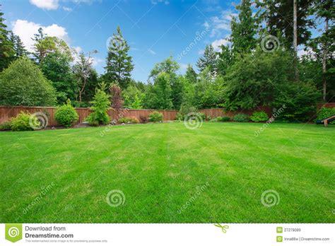 large backyard green large fenced backyard with trees stock image image 27278089