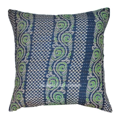 Quilted Pillow Covers by Decorative Outdoor Kantha Quilted Pillow Cover Royalfurnish
